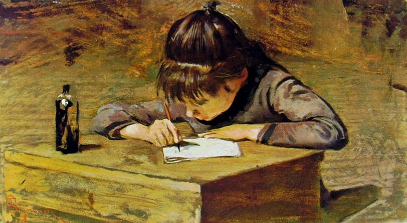 Telemaco Signorini, Bambina che scrive, 1885
